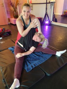 Side straddle stretch massage